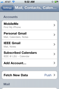 Select Add Account... Option